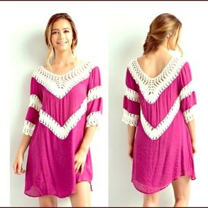 Dresses & Skirts - Vibrant pink dress with crotchet detail